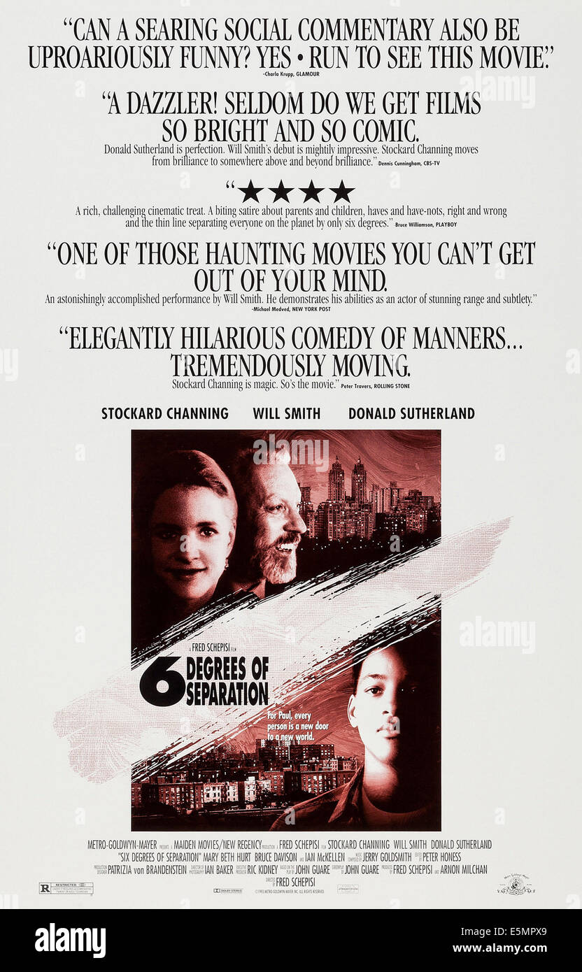 Six Degrees Of Separation Us Poster Art Stockard Channing Donald Sutherland Will