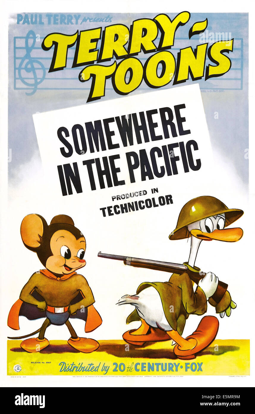 SOMEWHERE IN THE PACIFIC, US poster, far left: Mighty Mouse, 1943. TM & Copyright © 20th Century Fox Film - Stock Image