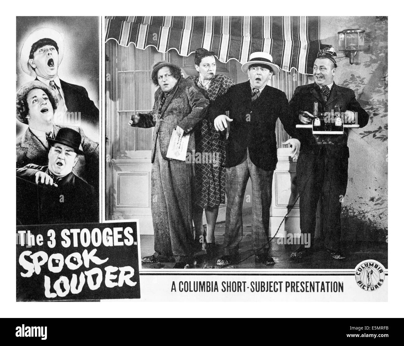 SPOOK LOUDER, Larry Fine, Mo Howard, Curly Howard, [The Three Stooges], 1943. Stock Photo
