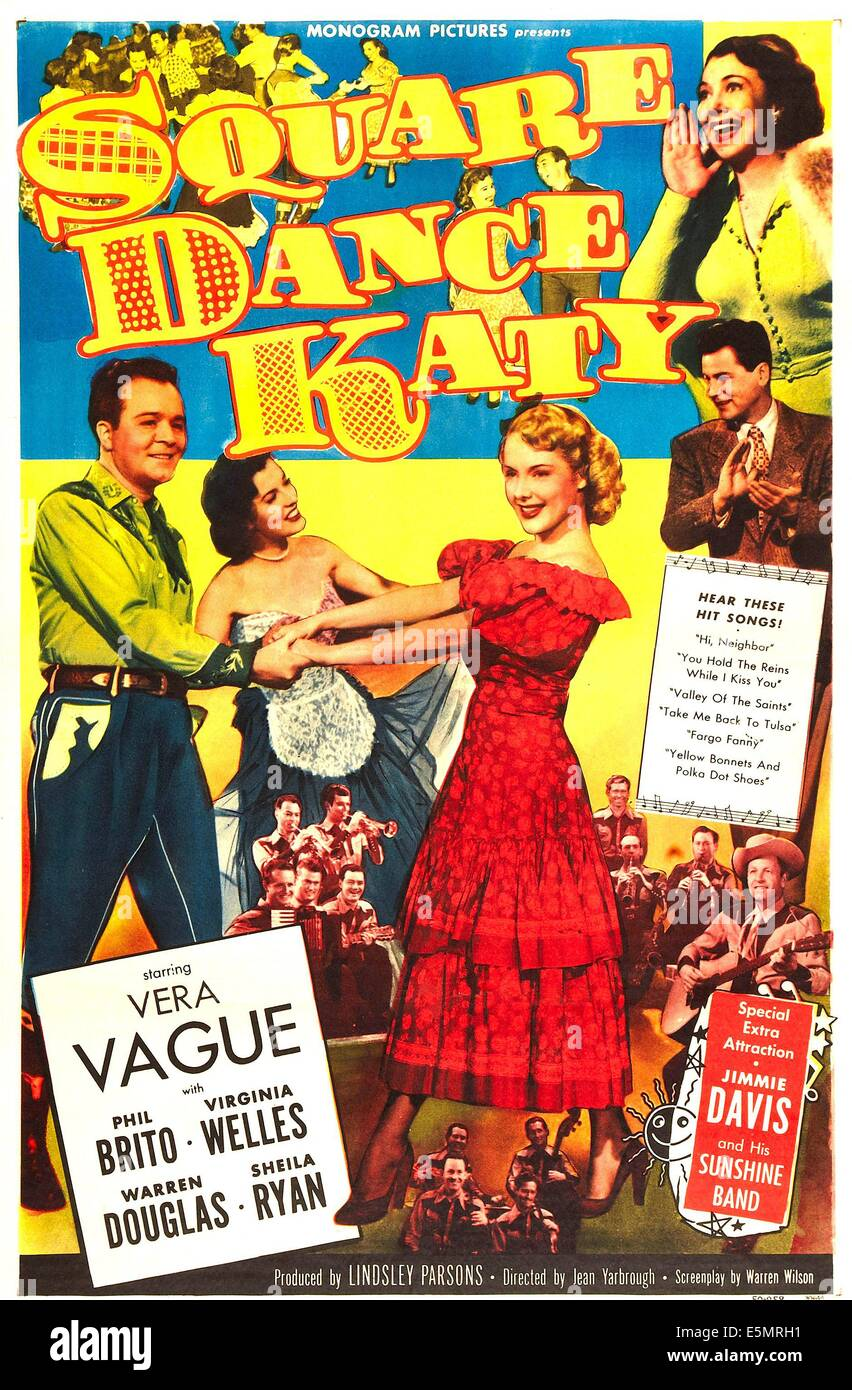 SQUARE DANCE KATY, US poster art, bottom right: Jimmy Davis, from left: Phil Brito, Sheila Ryan, Virginia Welles, - Stock Image