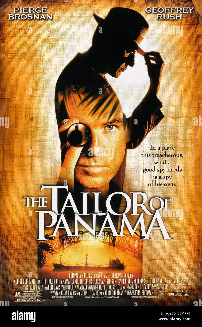 THE TAILOR OF PANAMA, US poster art, Geoffrey Rush,  (back), Pierce Brosnan, (inset), 2001, ©Columbia Pictures/courtesy - Stock Image