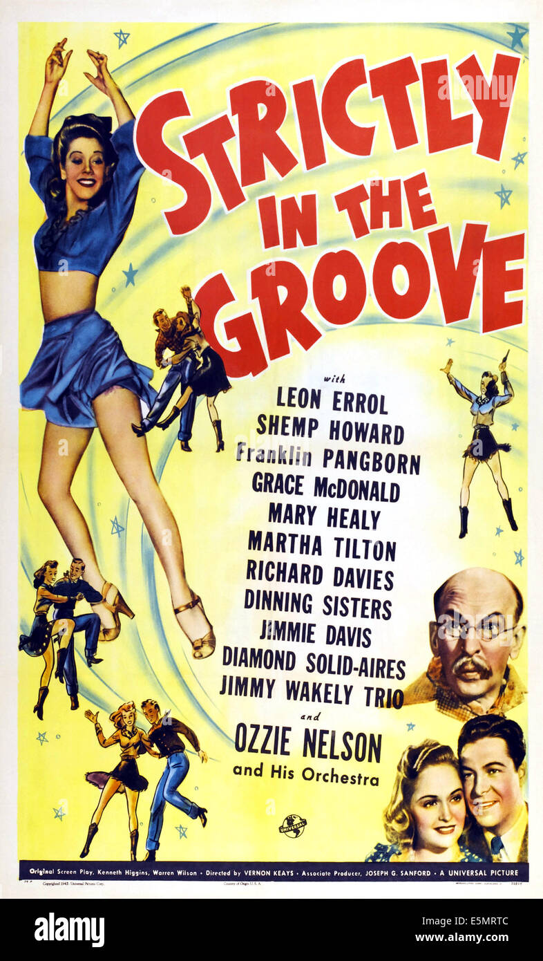 STRICTLY IN THE GROOVE, US poster, Grace McDonald (left), Leon Errol (mustache), bottom from left: Mary Healy, Richard - Stock Image