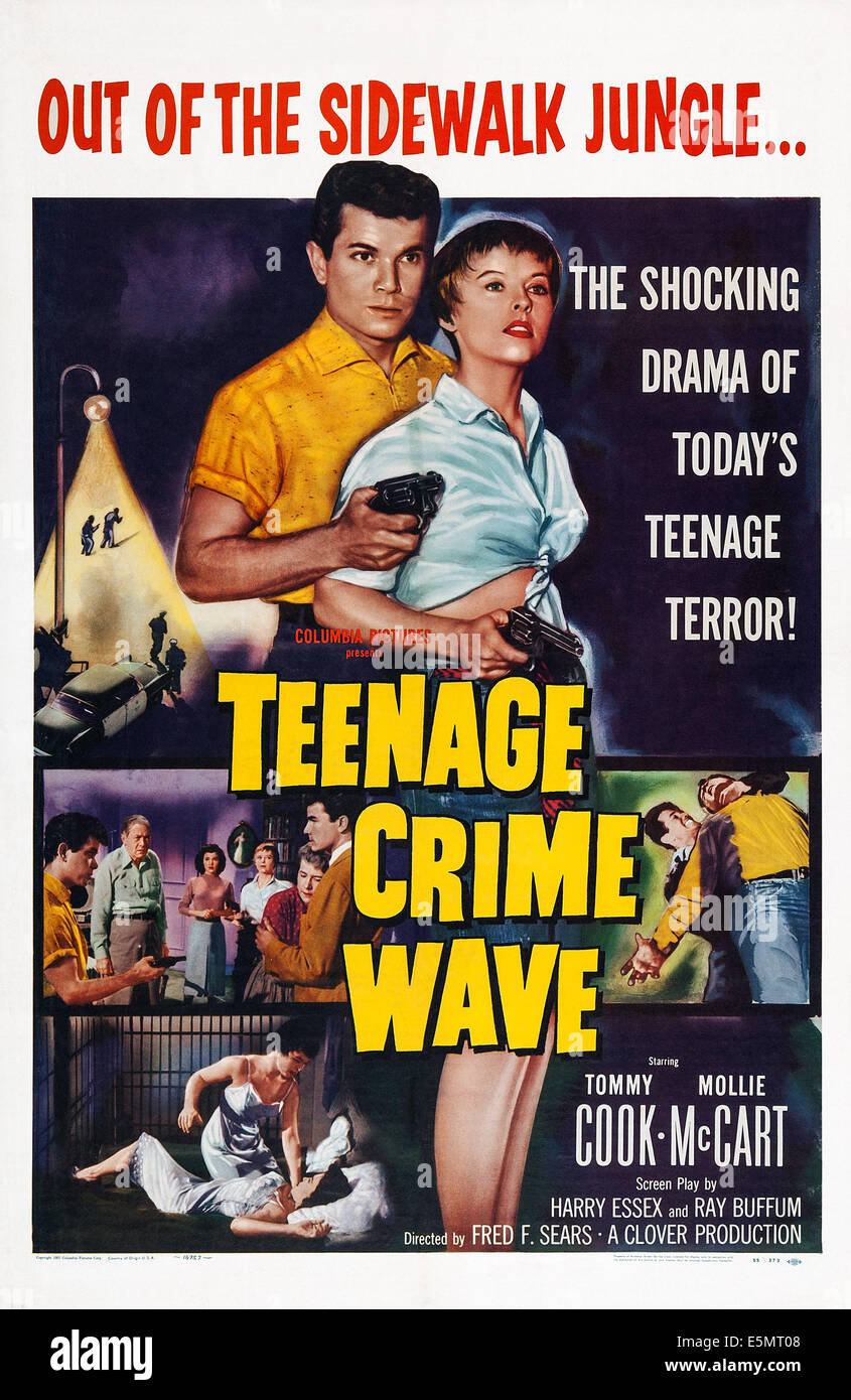 TEEN-AGE CRIME WAVE, (aka TEENAGE CRIME WAVE), US poster art, from left:  Tommy Cook, Molly McCart, 1955