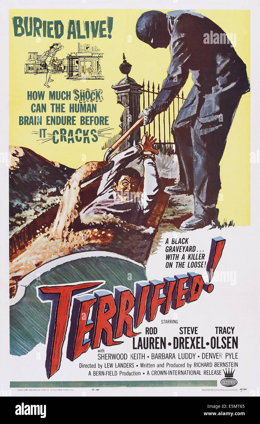 TERRIFIED, US poster art, 1963 - Stock Image