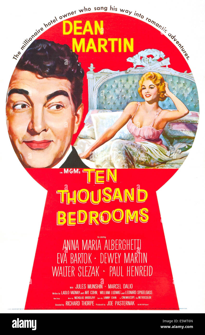 TEN THOUSAND BEDROOMS, US poster art, Dean Martin, 1957. - Stock Image