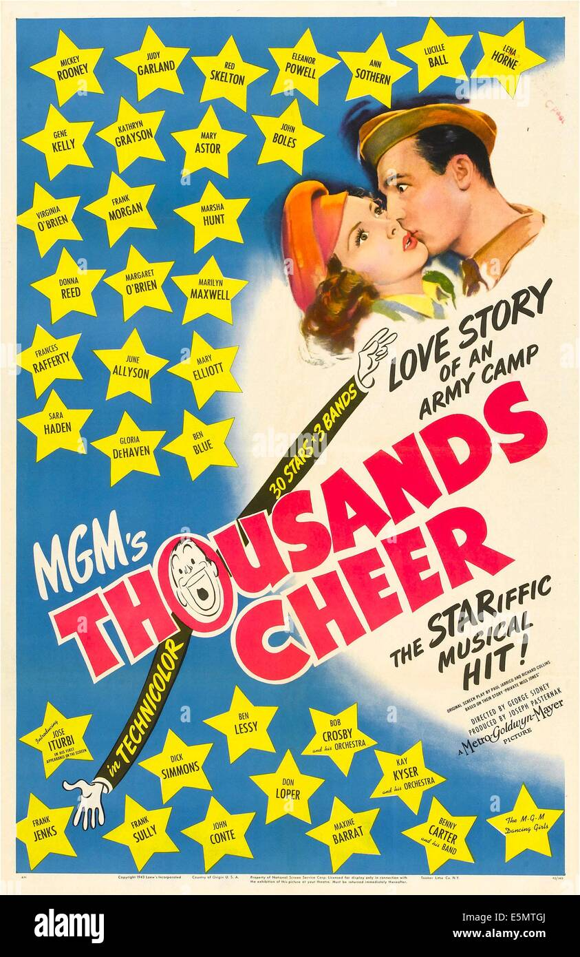 THOUSANDS CHEER, US poster, Kathryn Grayson, Gene Kelly, 1943 - Stock Image