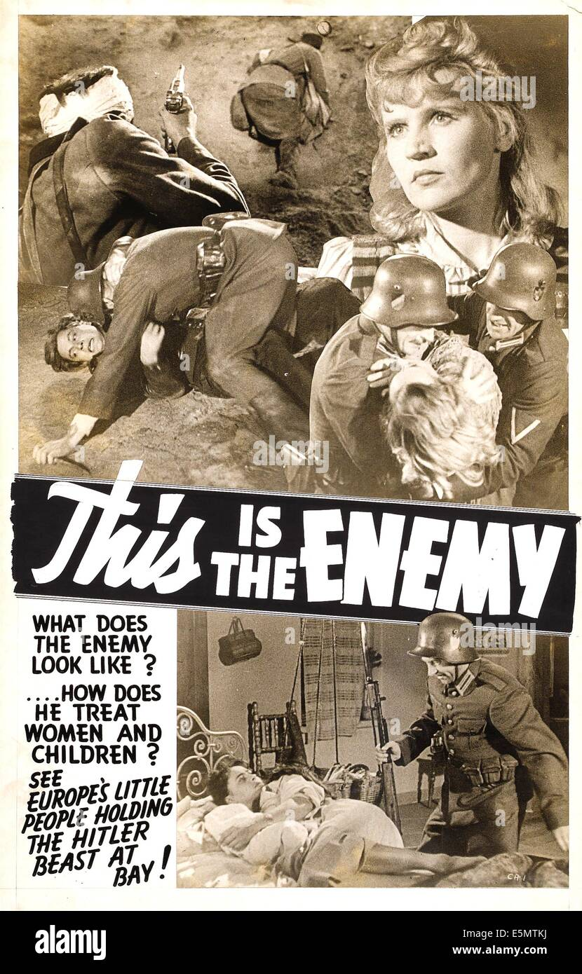 THIS IS THE ENEMY, poster art, 1942. - Stock Image