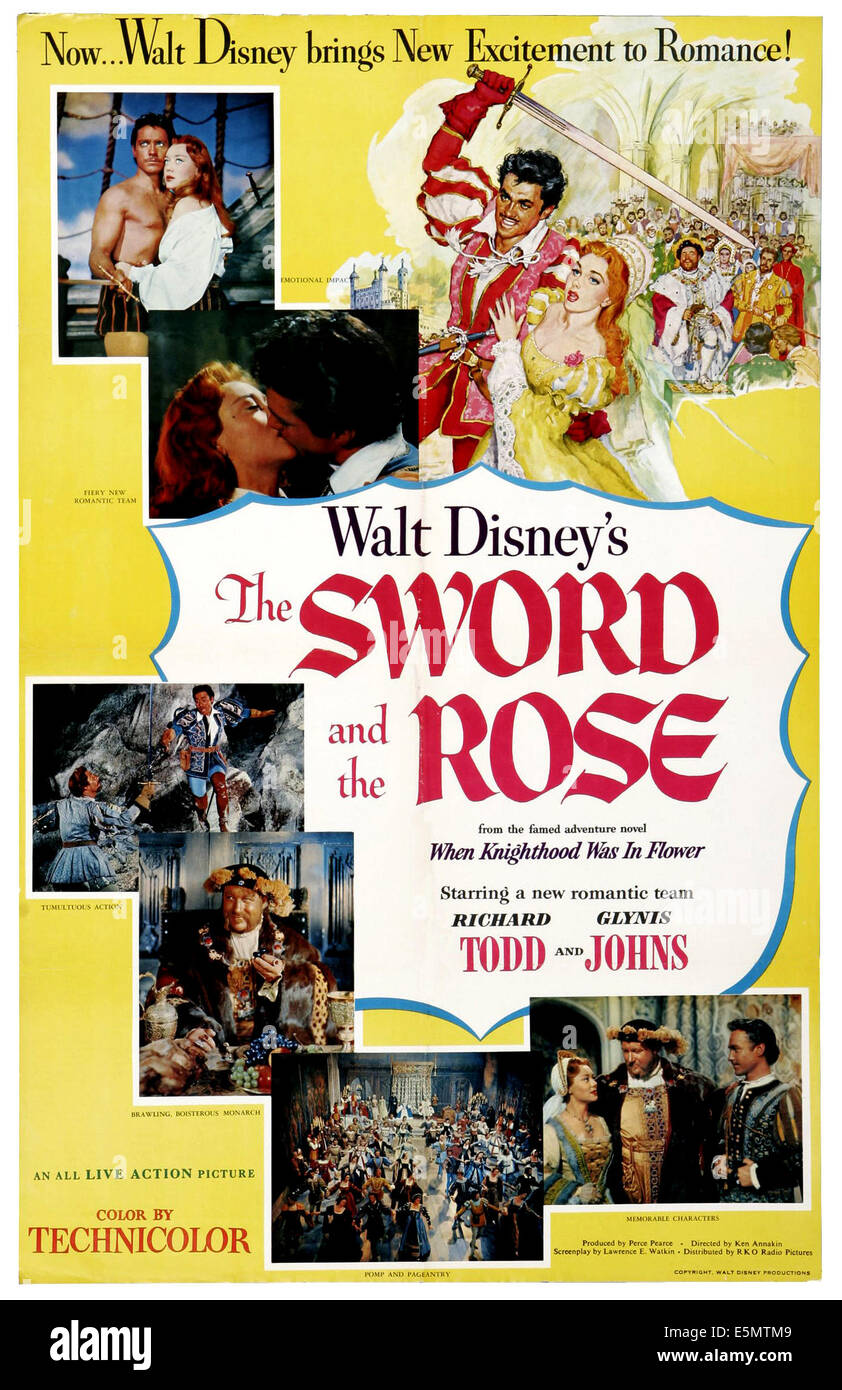 THE SWORD AND THE ROSE, U.S. poster art, top: Richard Todd, Glynis Johns; bottom right: Glynis Johns, James Robertson - Stock Image