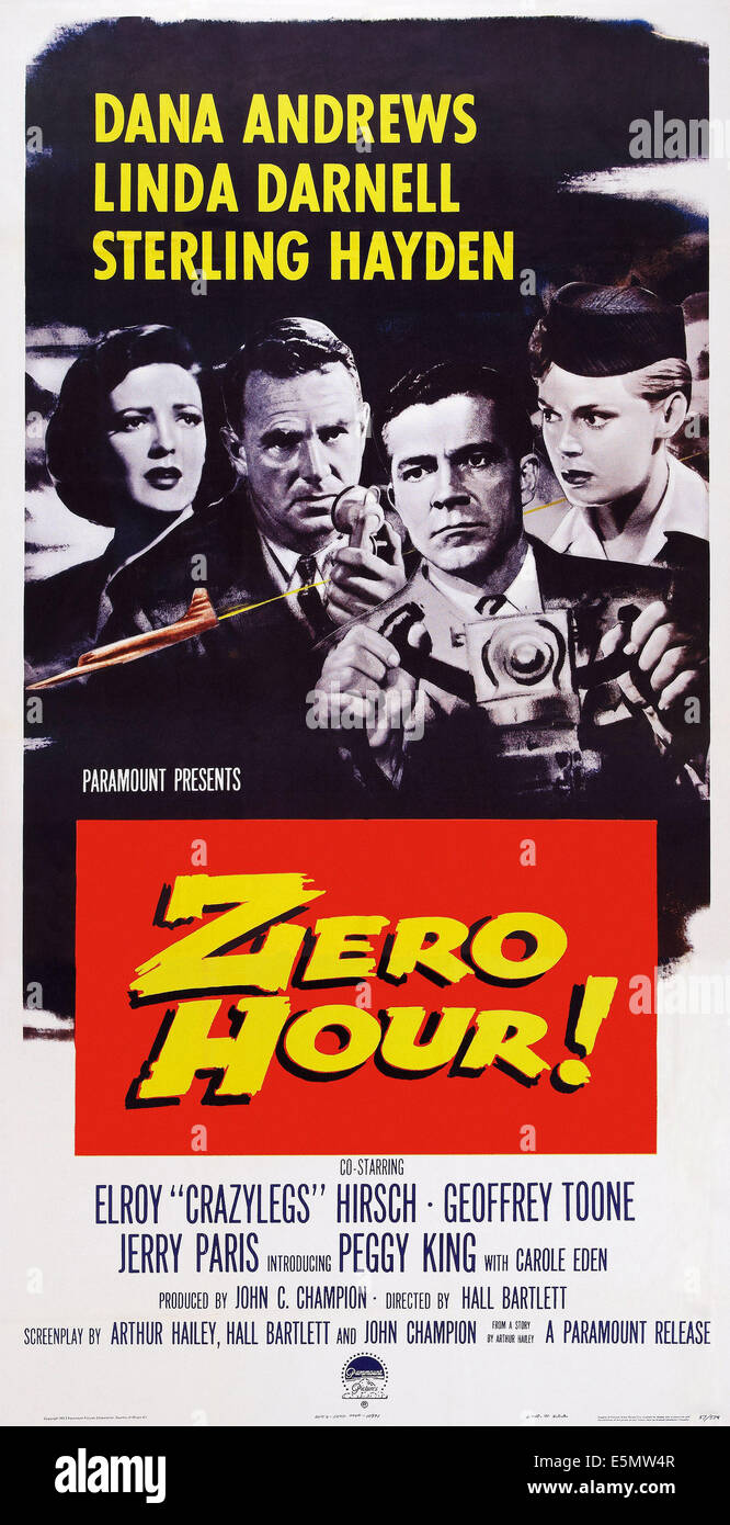 ZERO HOUR!, US poster art, from left: Linda Darnell, Sterling Hayden, Dana Andrews, Peggy King, 1957 - Stock Image