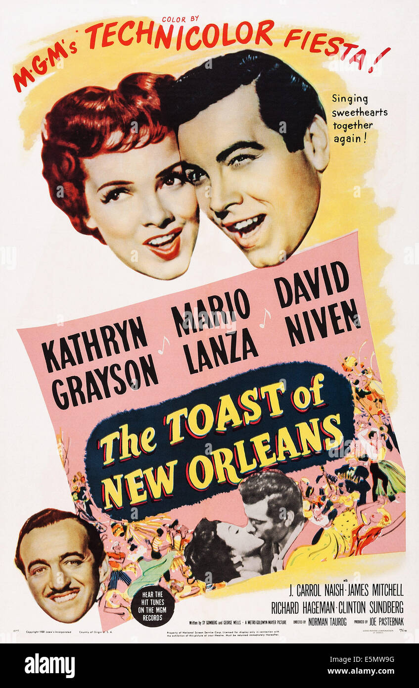 THE TOAST OF NEW ORLEANS, US poster art, top, from left: Kathryn Grayson, Mario Lanza; bottom left: David Niven, - Stock Image