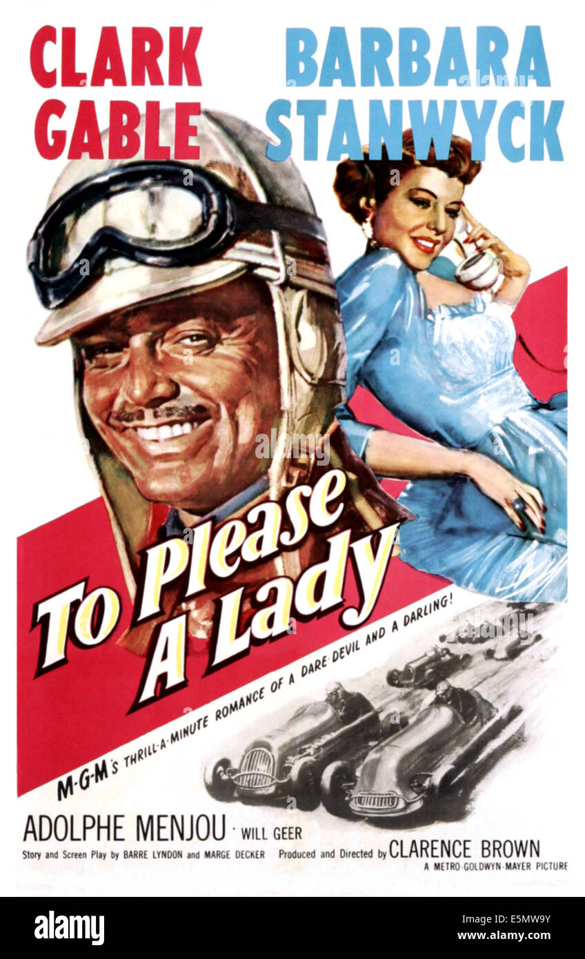 TO PLEASE A LADY, Clark Gable, Barbara Stanwyck, 1950 - Stock Image