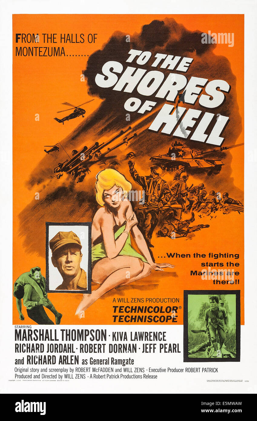 TO THE SHORES OF HELL, US poster art, Marshall Thompson, 1966 - Stock Image