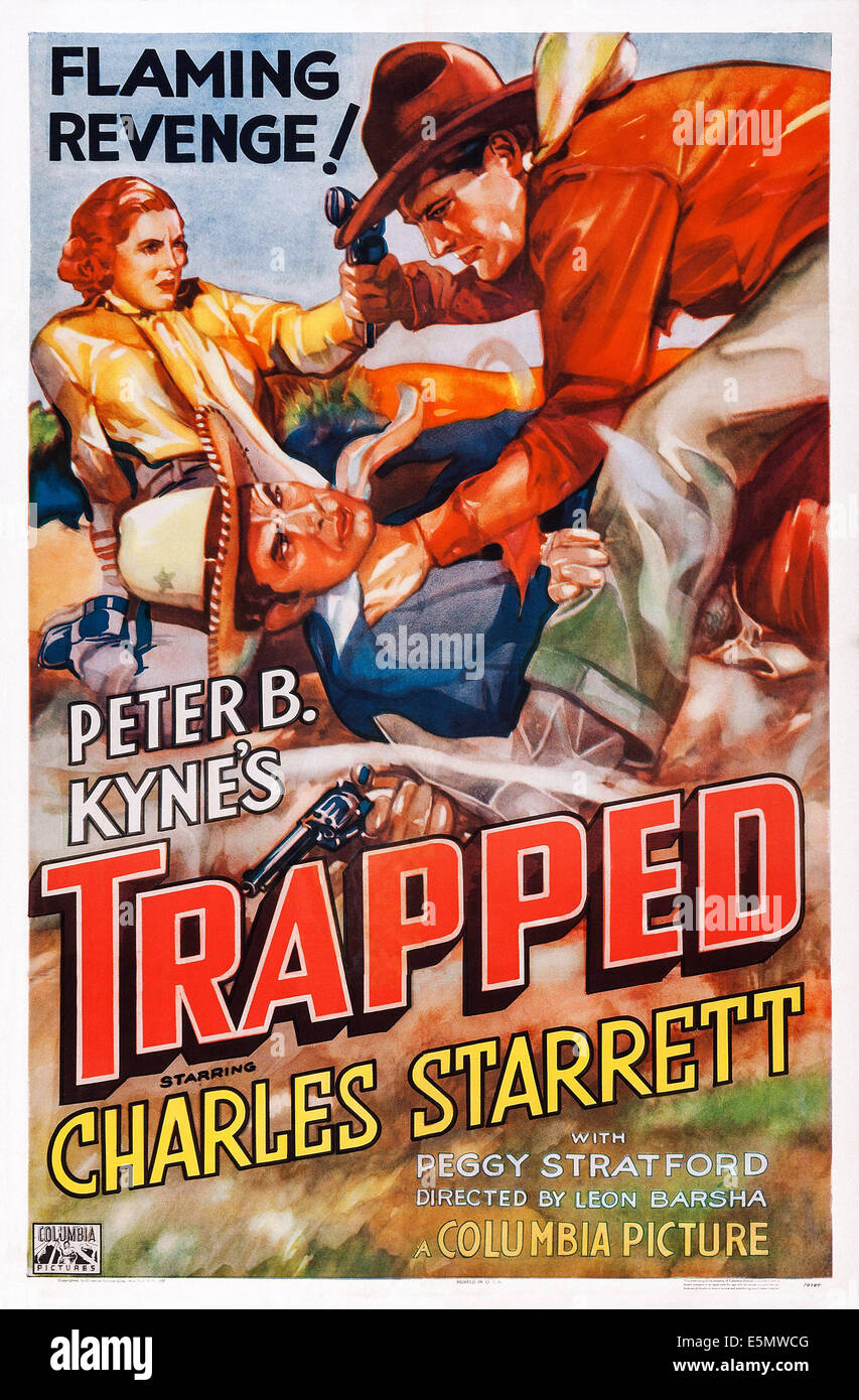 TRAPPED, US poster art, 1937 - Stock Image