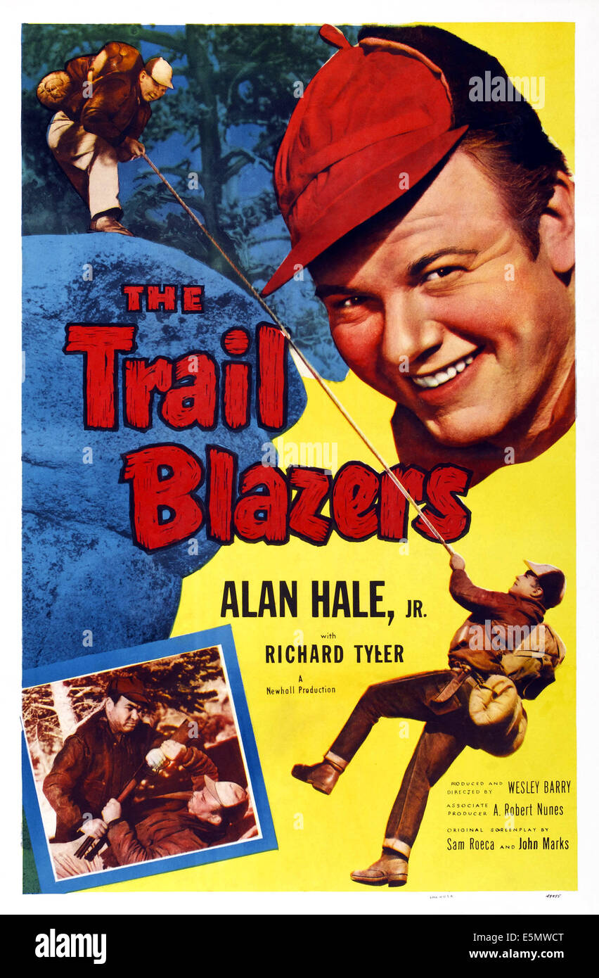 TRAIL BLAZERS, US poster, Alan Hale Jr. (top right), 1953 - Stock Image