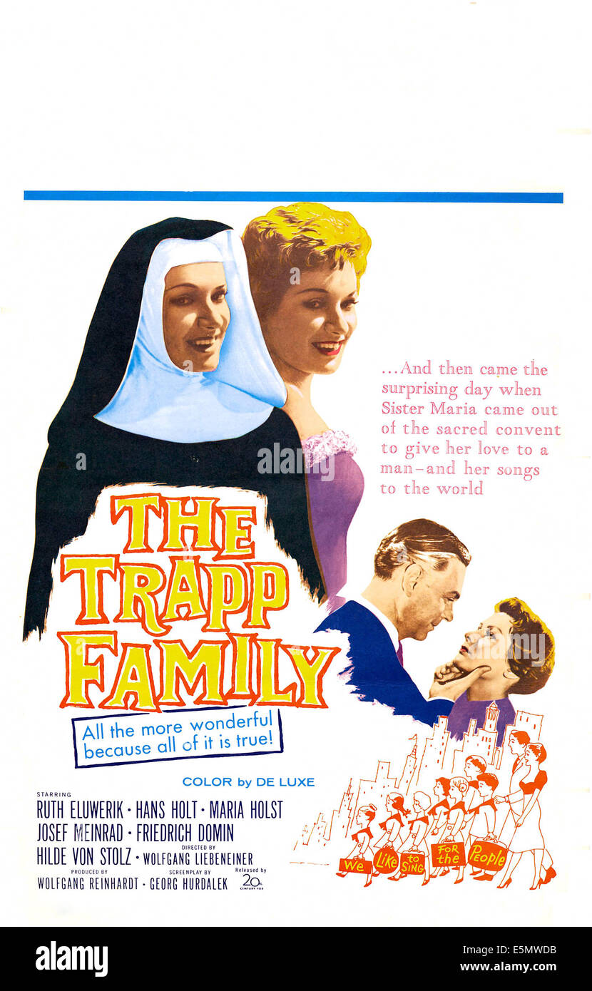 THE TRAPP FAMILY, (aka DIE TRAPP-FAMILIE), US poster art, Ruth Leuwerik (as a nun), bottom right: Hans Holt, 1956. - Stock Image