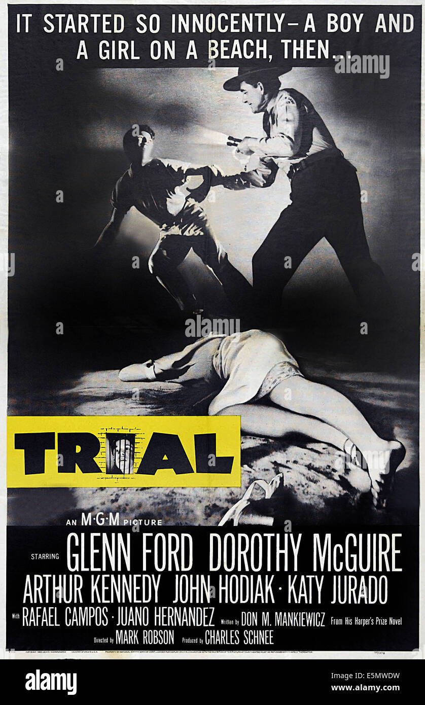TRIAL, poster art, 1955 - Stock Image