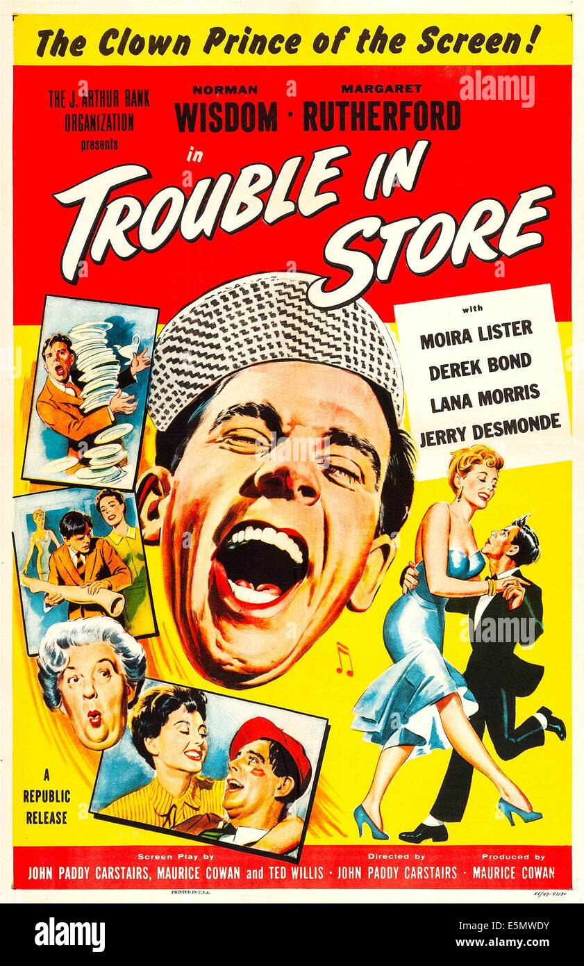 TROUBLE IN STORE, US poster art, center: Norman Wisdom, 1953. - Stock Image