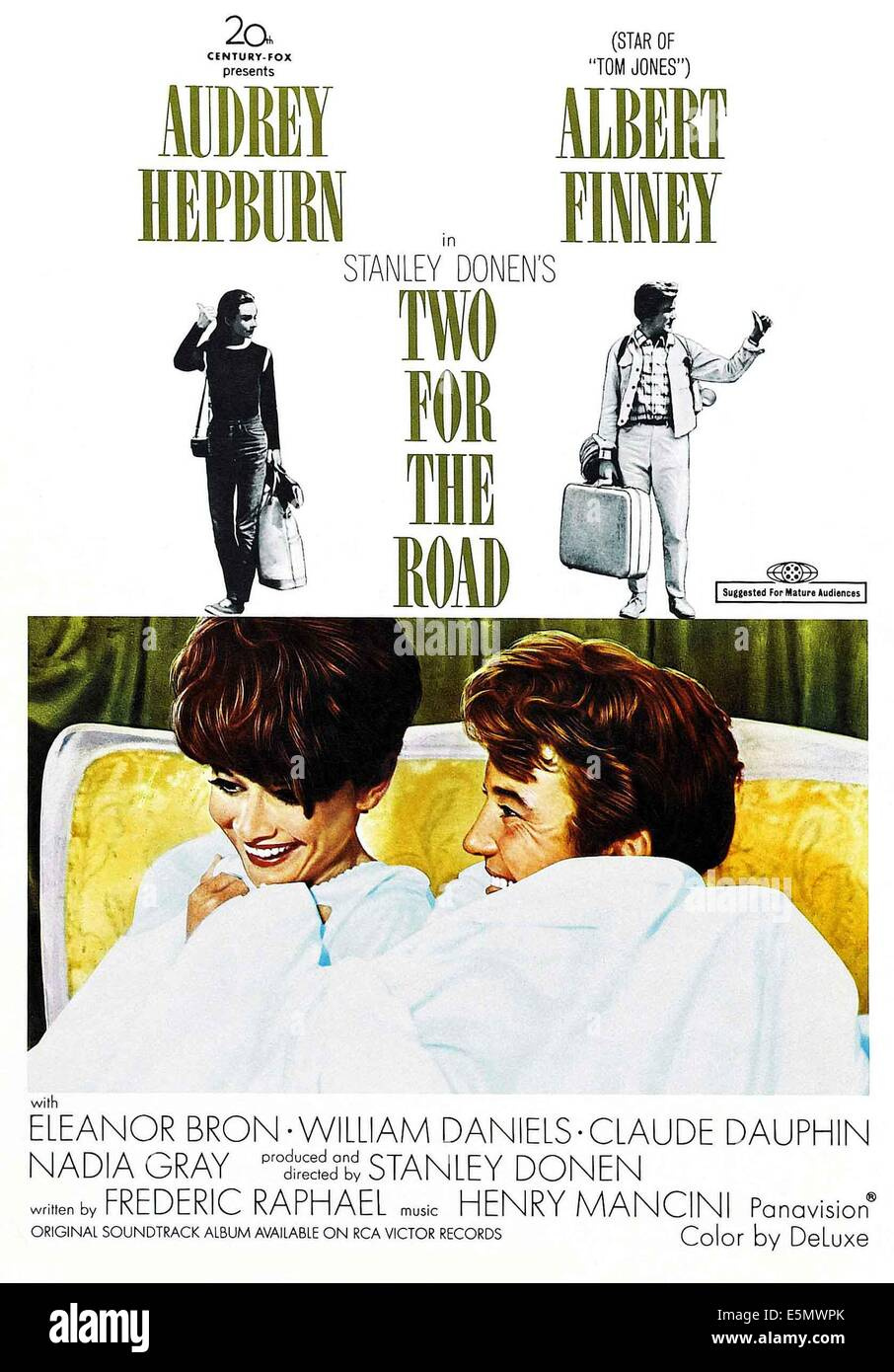 TWO FOR THE ROAD, from left, Audrey Hepburn, Albert Finney, 1967, TM and Copyright ©20th Century Fox Film Corp. - Stock Image