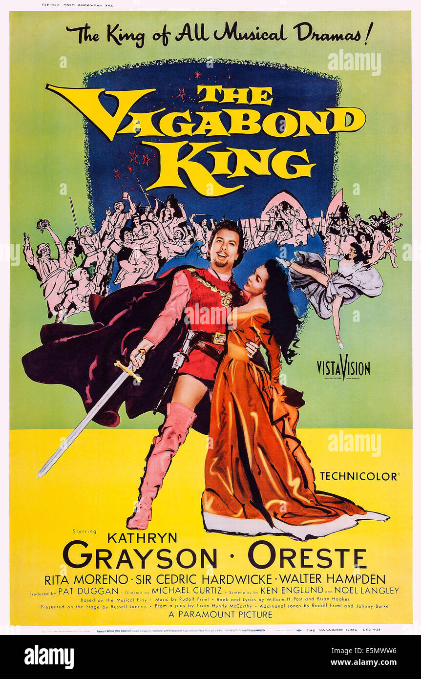 THE VAGABOND KING, US poster art, from left: Oreste Kirkop, Kathryn Grayson, 1956 - Stock Image