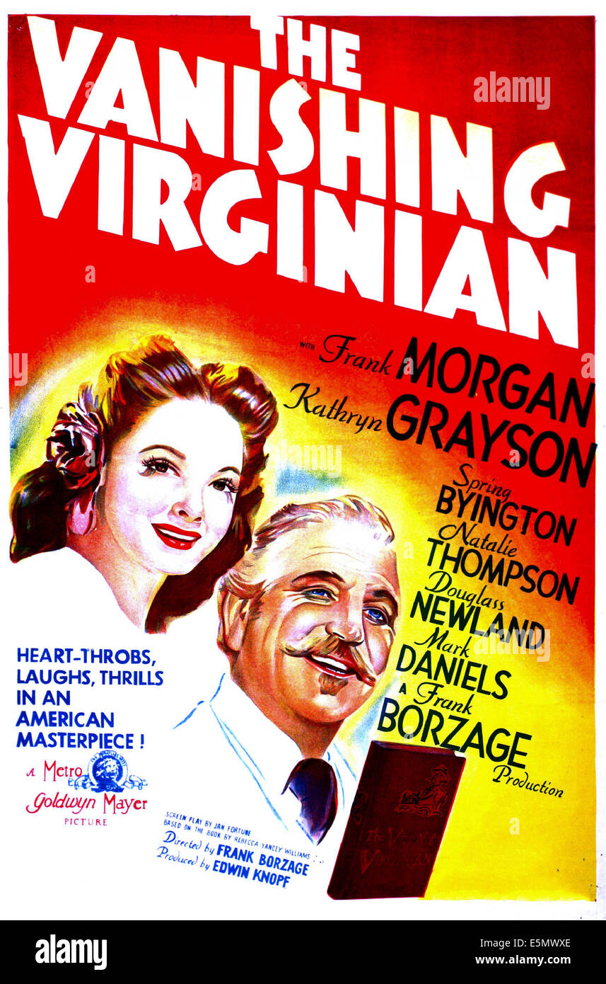 THE VANISHING VIRGINIAN, US poster, from left: Kathryn Grayson, Frank Morgan,  1942 - Stock Image