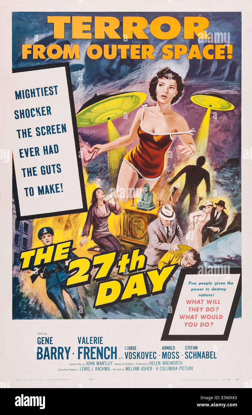 THE 27TH DAY, poster art, 1957 - Stock Image