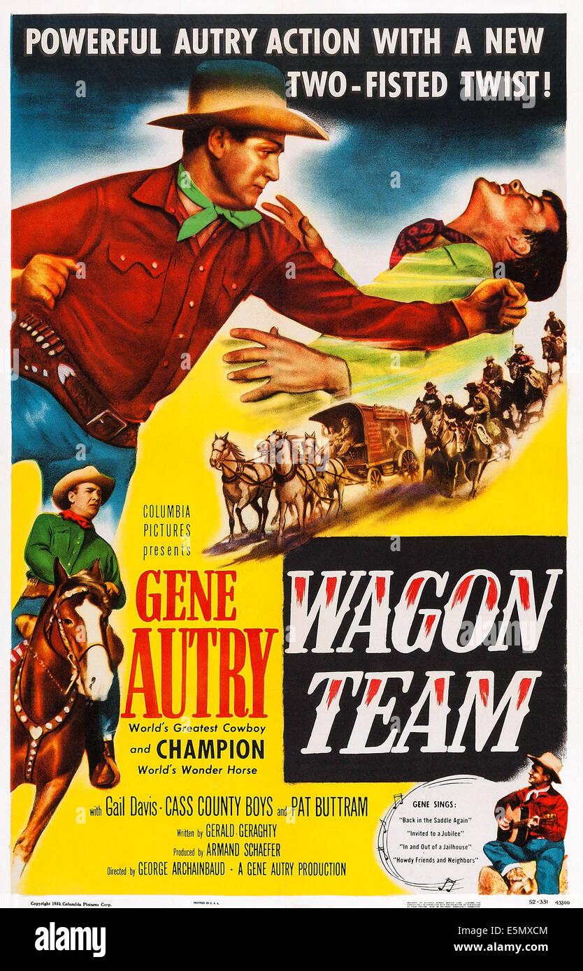 WAGON TEAM US Poster Art Gene Autry Left 1952
