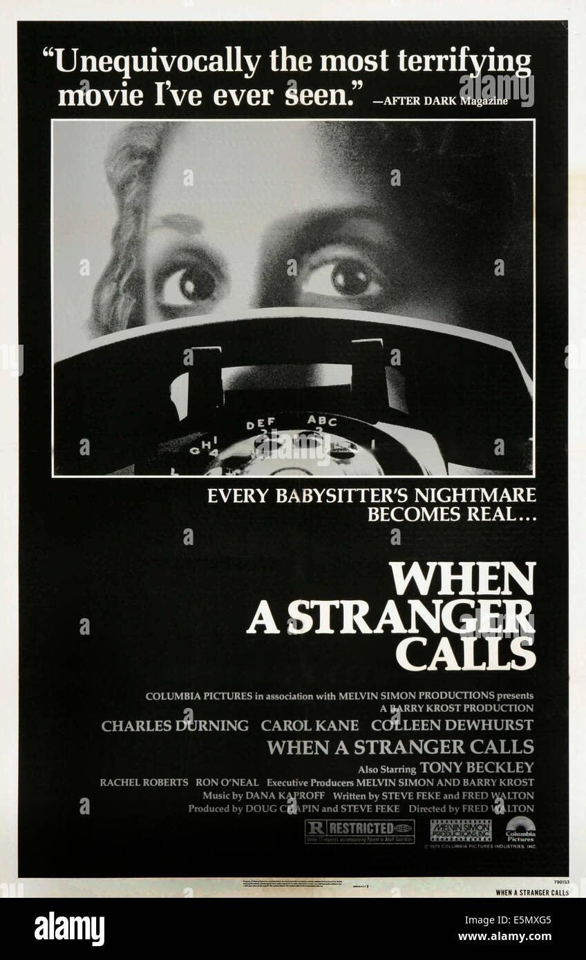 WHEN A STRANGER CALLS, Carol Kane on poster art, 1979, ©Columbia Pictures/courtesy Everett Collection - Stock Image
