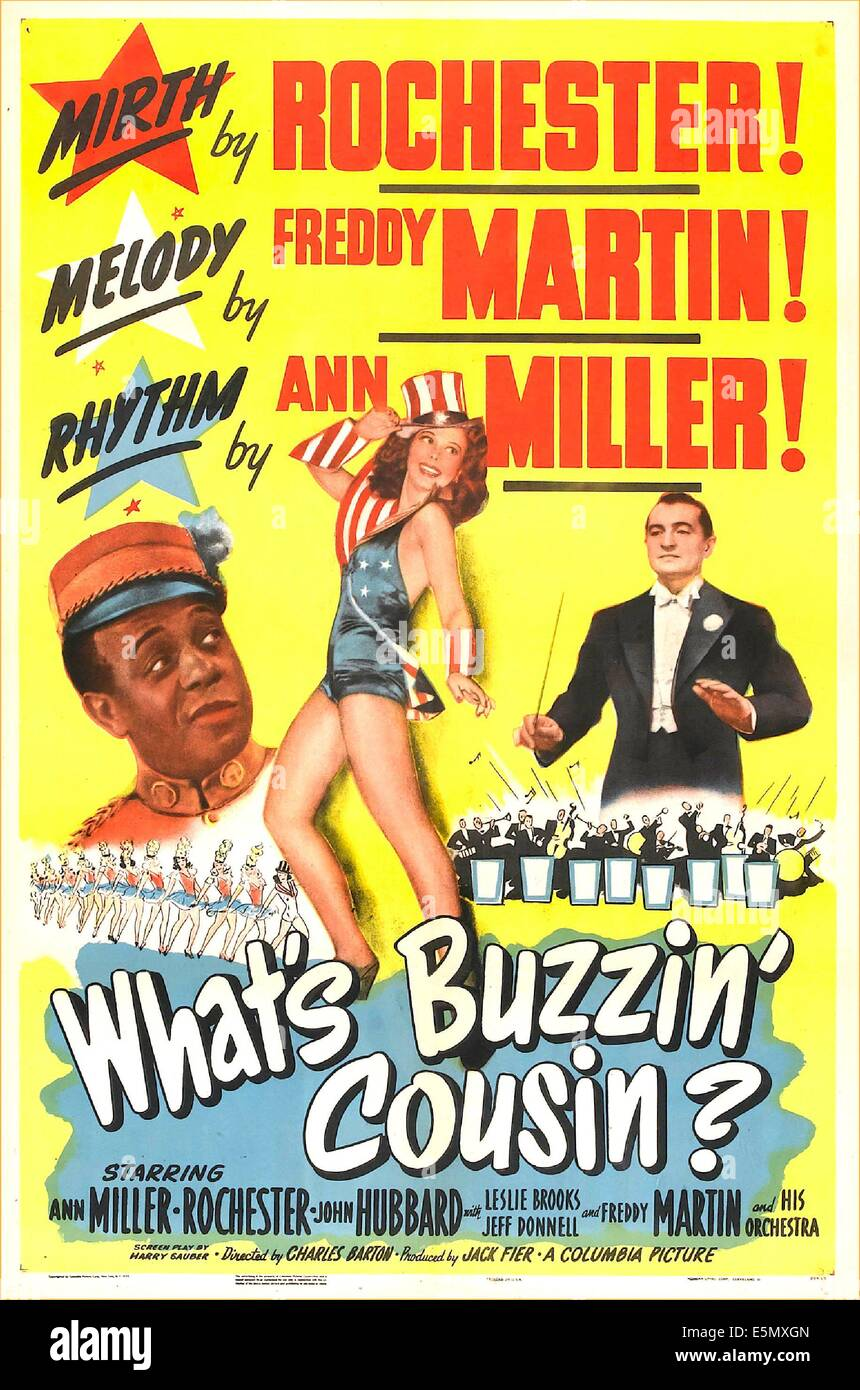 WHAT'S BUZZIN', COUSIN?, US poster, Eddie 'Rochester' Anderson, Ann Miller, Freddy Martin, 1943 - Stock Image