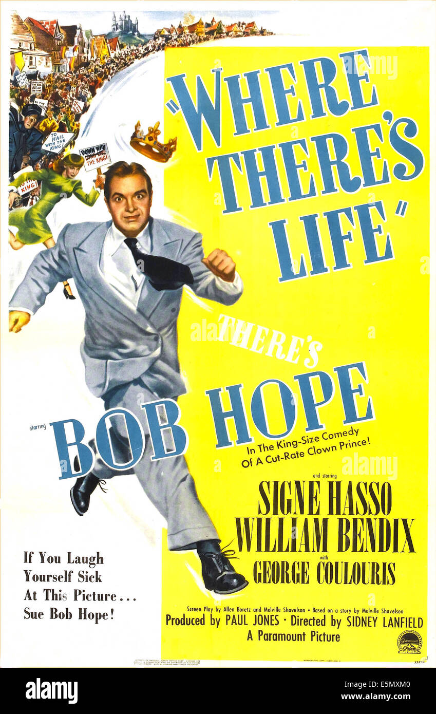 WHERE THERE'S LIFE, US poster, Bob Hope, Signe Hasso, 1947 Stock Photo -  Alamy