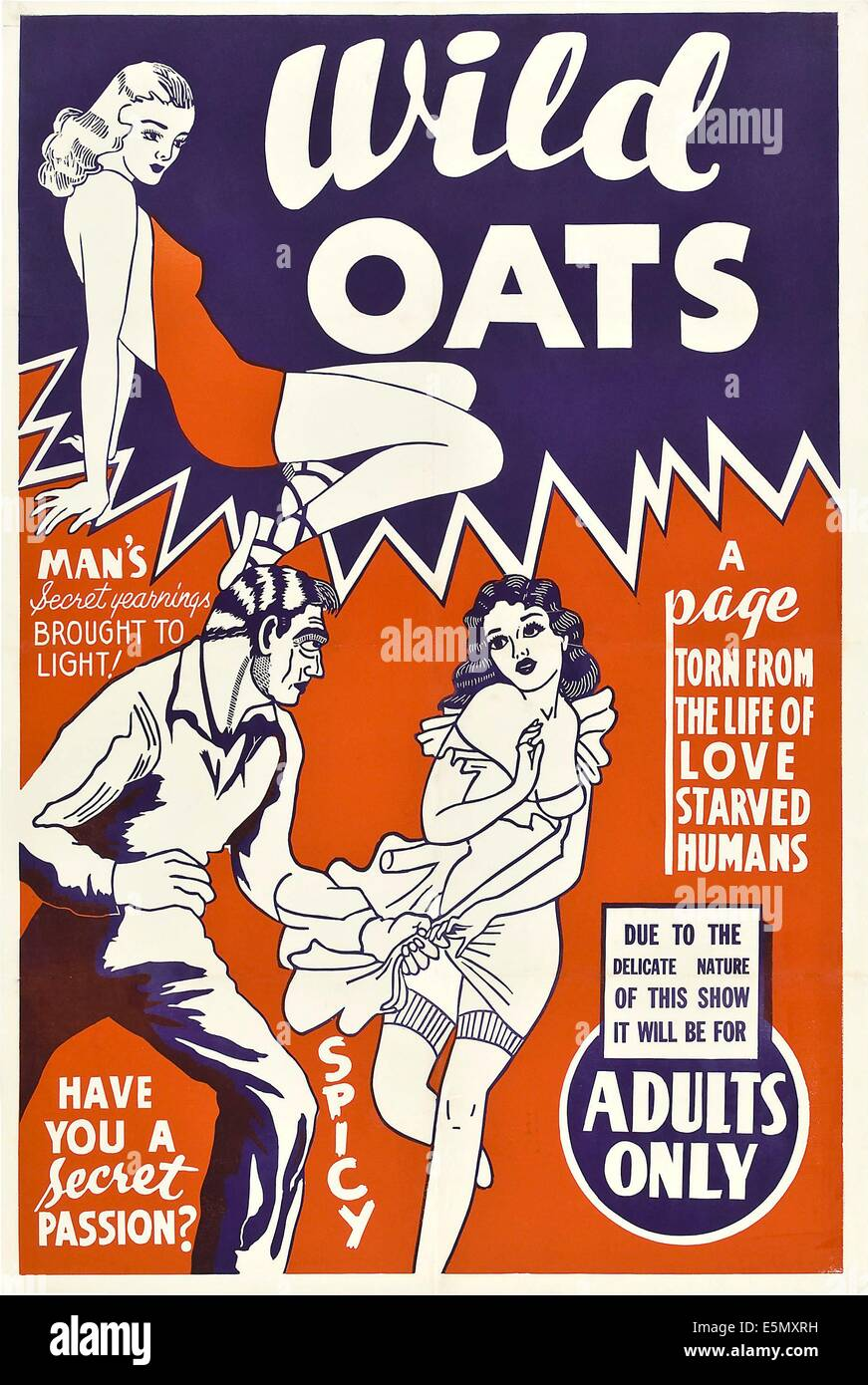 WILD OATS, poster art, 1940 - Stock Image