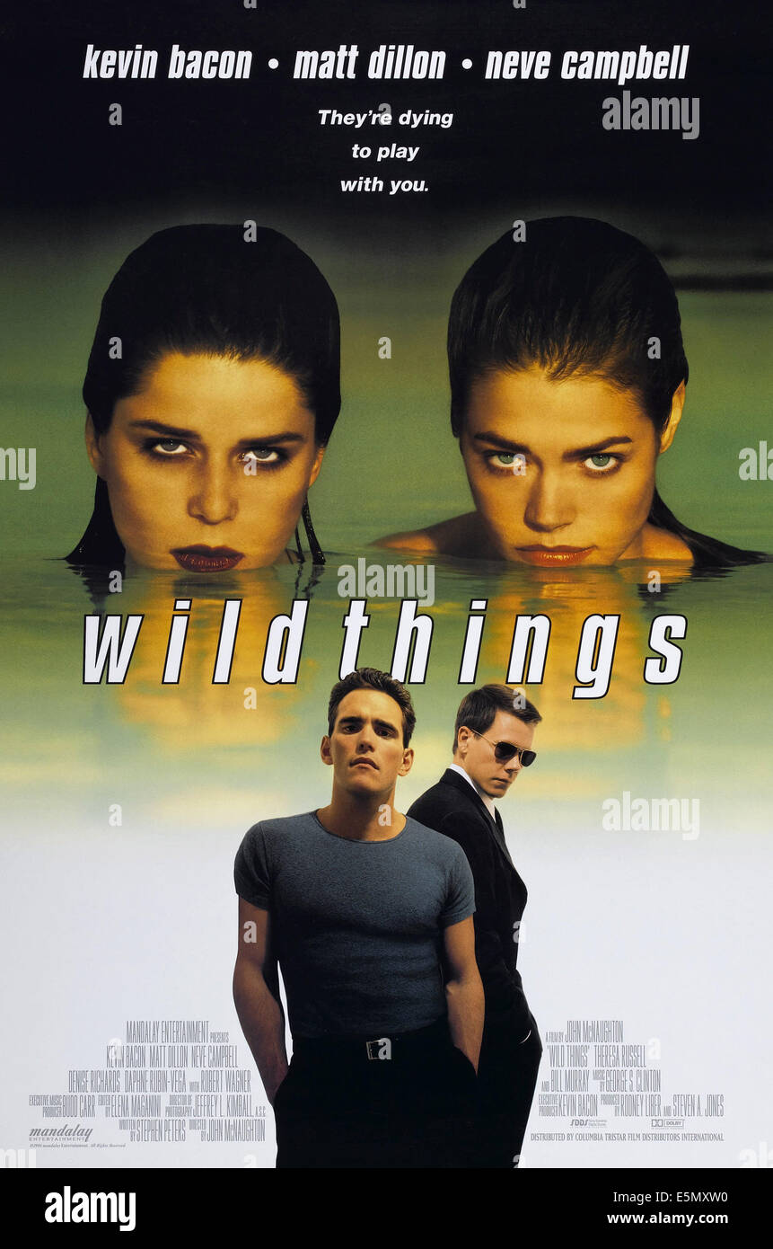 WILD THINGS, US poster art, clockwise from top left: Neve Campbell, Denise Richards, Kevin Bacon, Matt Dillon, 1998. - Stock Image