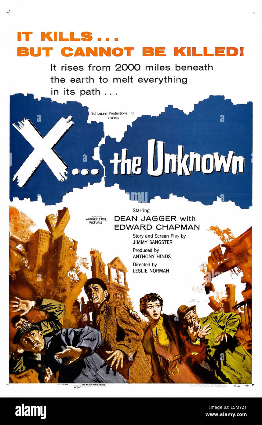 X: THE UNKNOWN, U.S. poster art, 1956 - Stock Image