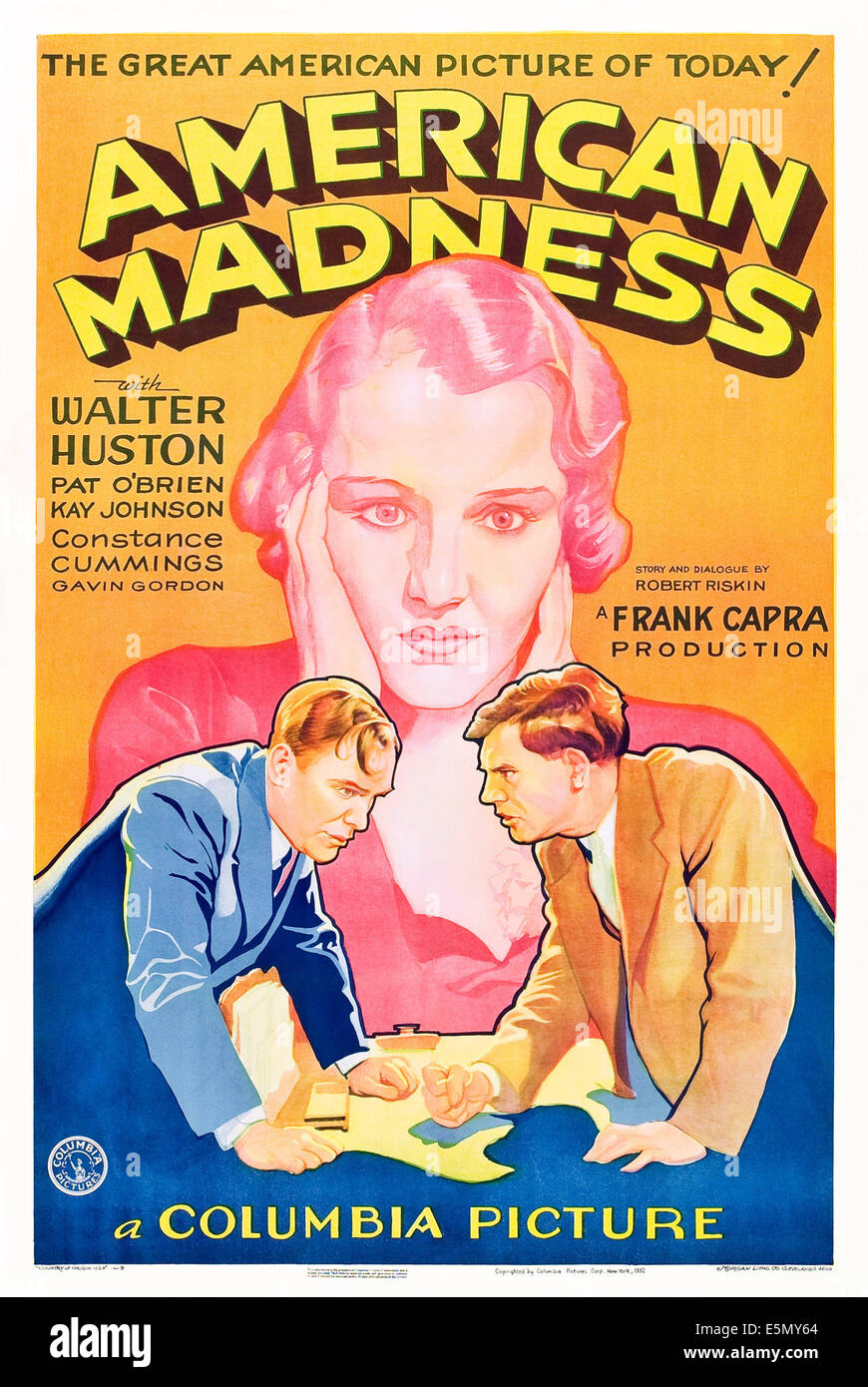 AMERICAN MADNESS, background, Kay Johnson, foreground from left: Pat O'Brien, Walter Huston on poster art, 1932 Stock Photo