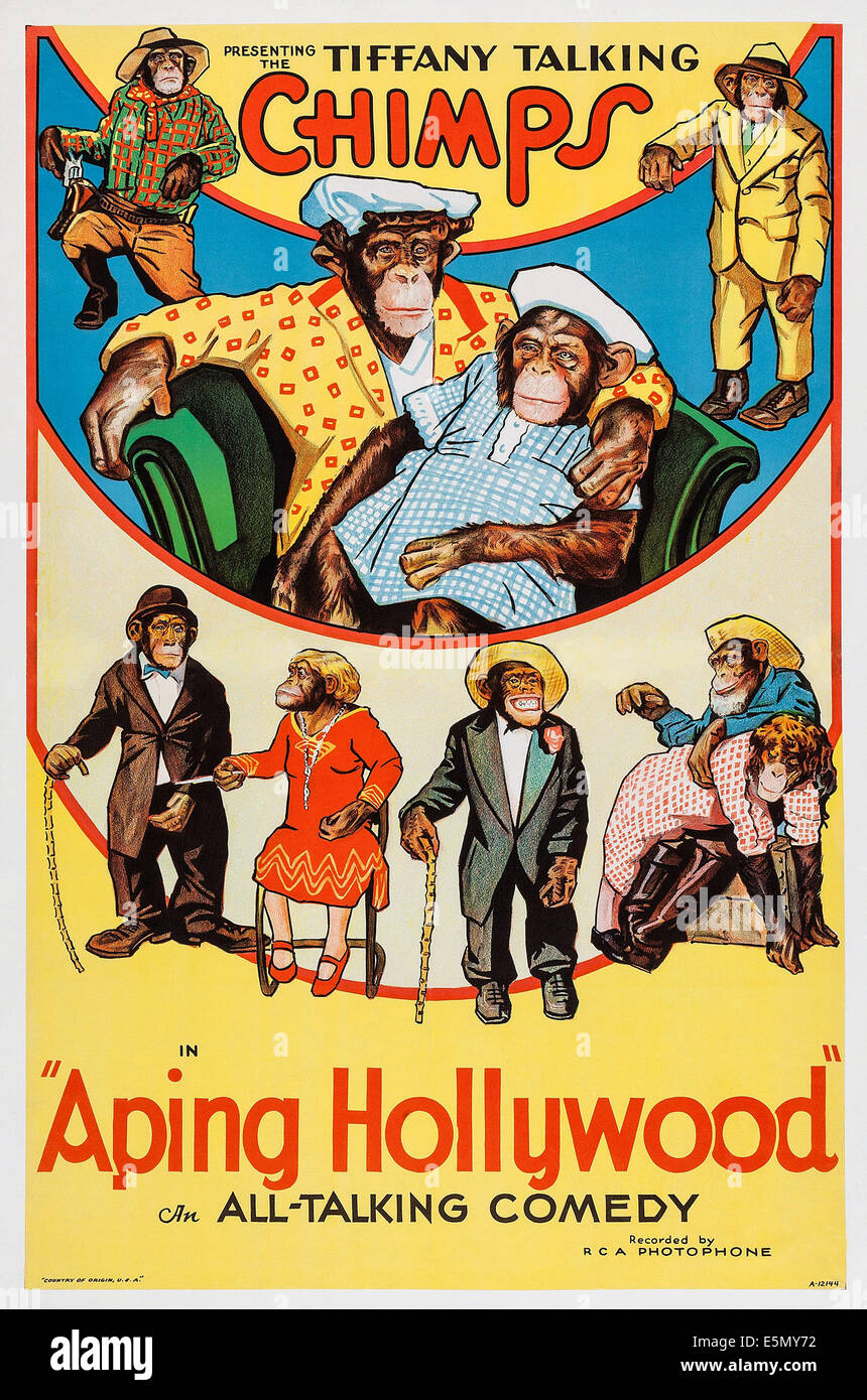 APING HOLLYWOOD, poster art ca. 1930s. - Stock Image