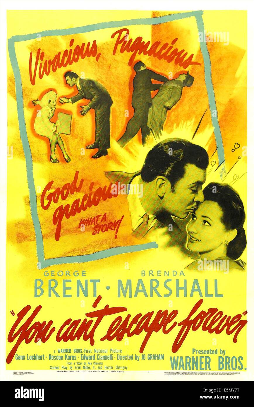 YOU CAN'T ESCAPE FOREVER, US poster, from left: George Brent, Brenda Marshall, 1942 - Stock Image