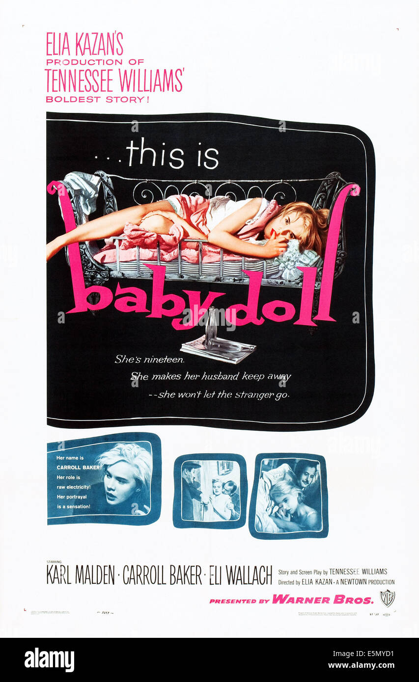 BABY DOLL, Carroll Baker (top and bottom left), 1956 - Stock Image