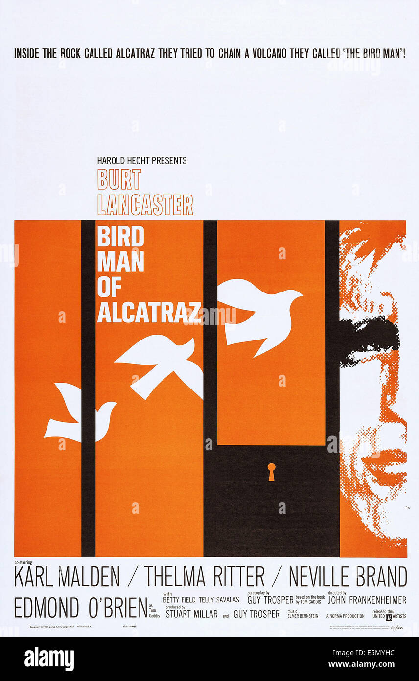 BIRDMAN OF ALCATRAZ, US poster art, Burt Lancaster, 1962 Stock Photo