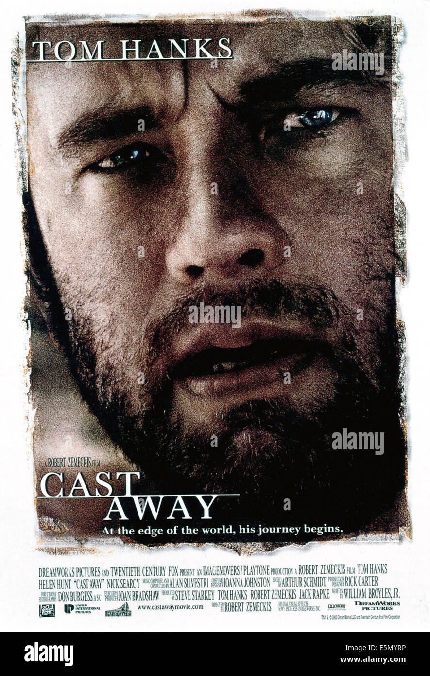 CAST AWAY, Tom Hanks, 2000, TM and Copyright ©20th Century Fox Film Corp. All rights reserved./courtesy Everett - Stock Image