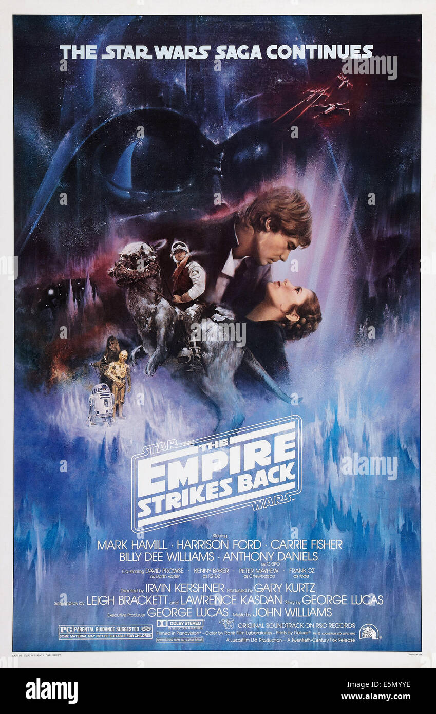 STAR WARS: EPISODE V - THE EMPIRE STRIKES BACK, Harrison Ford, Carrie Fisher, 1980 - Stock Image
