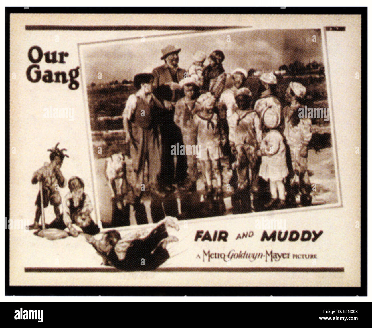 FAIR AND MUDDY, left border: , Farina Hoskins (aka Allan Clay Hoskins) on lobbycard, 1928 Stock Photo