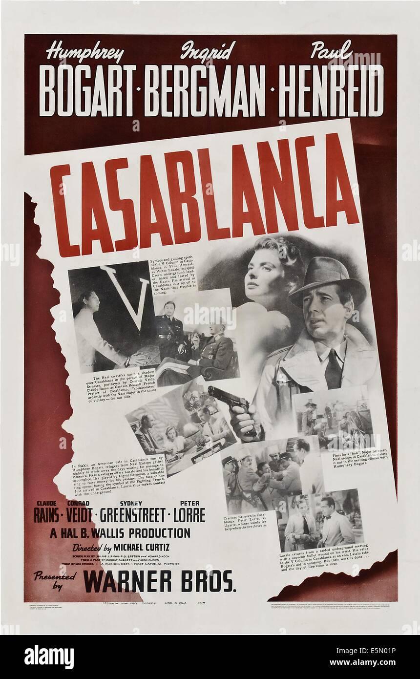 CASABLANCA, diagonal from top left: Paul Henreid, Conrad Veidt, Claude Rains, Louis V. Arco, Ingrid Bergman, Conrad - Stock Image