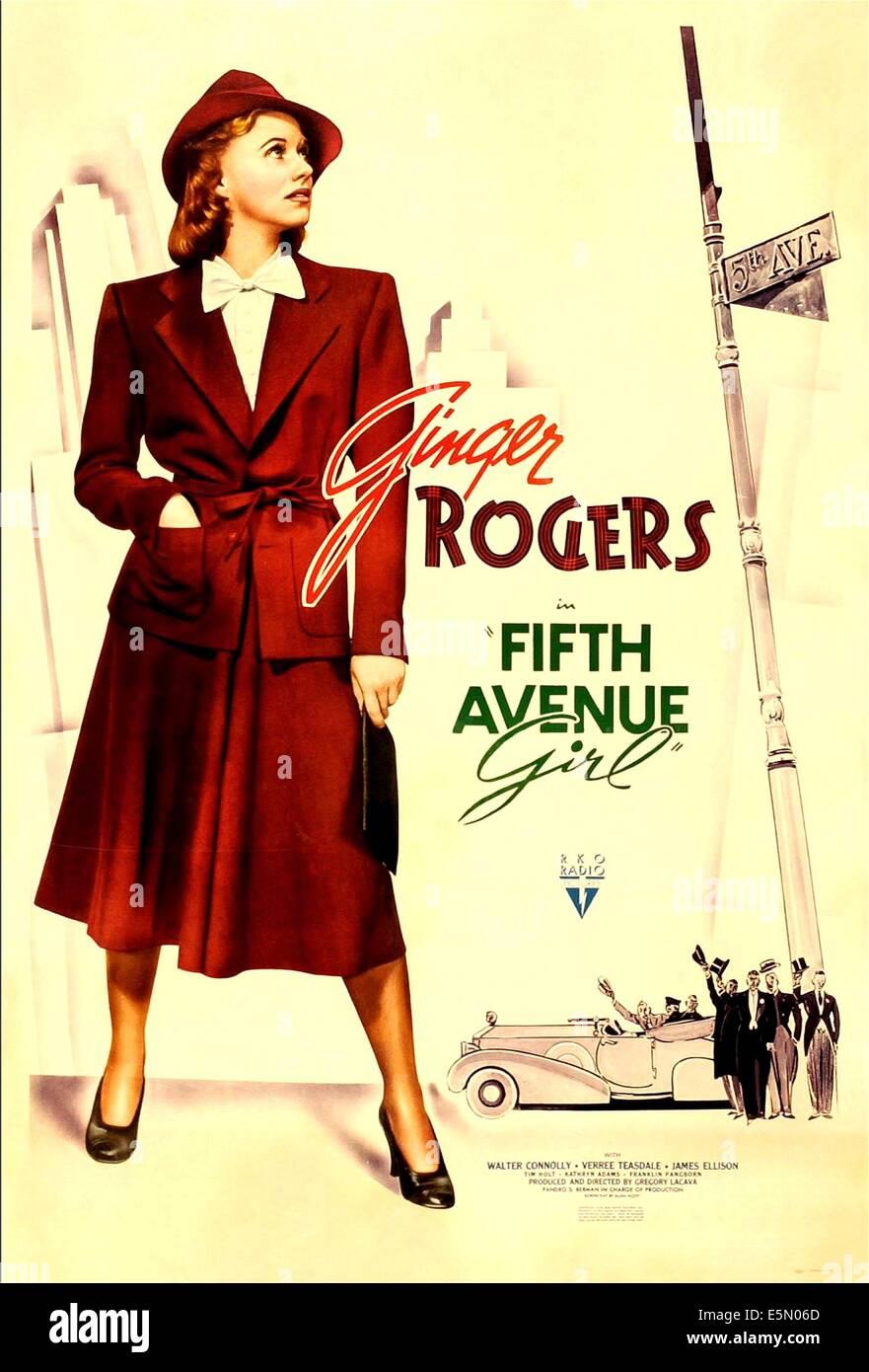 FIFTH AVENUE GIRL (aka 5TH AVE GIRL), Ginger Rogers, 1939. - Stock Image