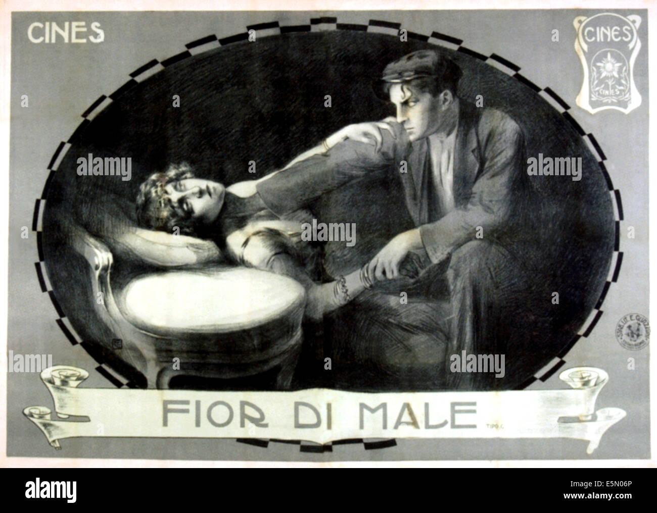 FIOR DI MALE, Italian lobbycard, 1915. - Stock Image
