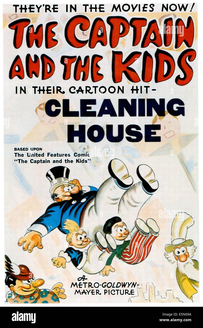 CLEANING HOUSE, center top: Captain, center bottom: Katzenjammer Kids, 1938 - Stock Image