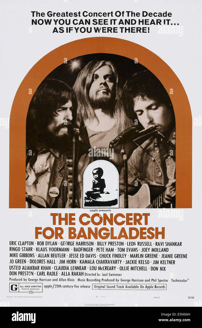 THE CONCERT FOR BANGLADESH, US poster art, from left: George Harrison, Leon Russell, Bob Dylan, 1972 - Stock Image