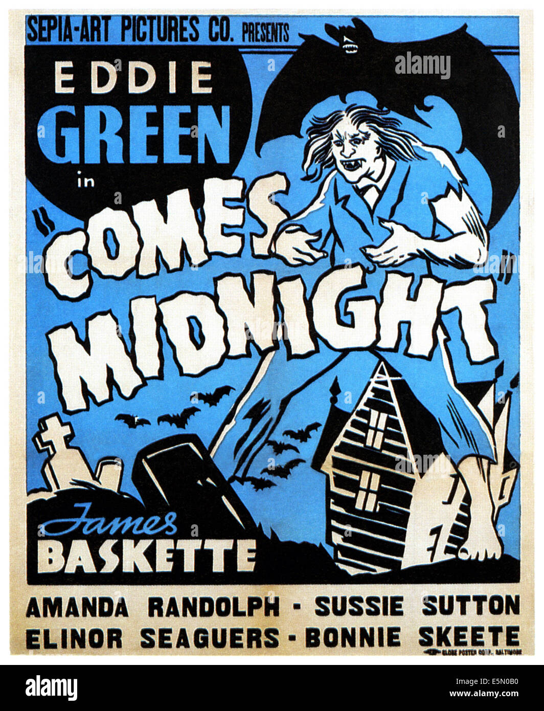 COMES MIDNIGHT, poster art, 1940 - Stock Image