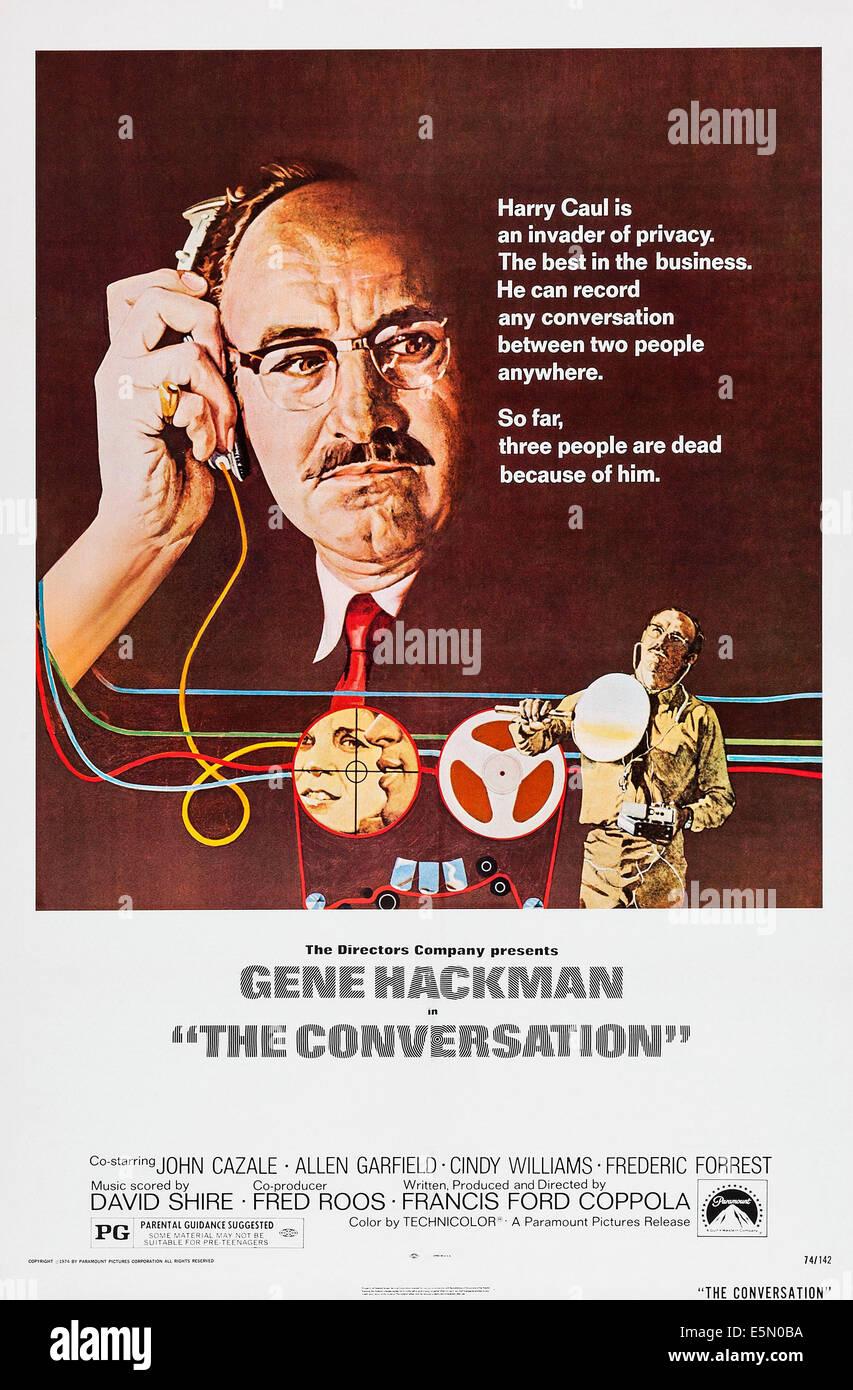 THE CONVERSATION, Gene Hackman, 1974, poster art - Stock Image