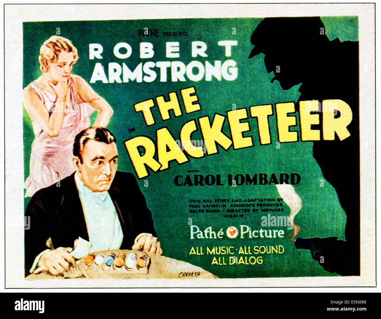 THE RACKETEER, from left: Carole Lombard, Robert Armstrong on title lobbycard, 1929. - Stock Image