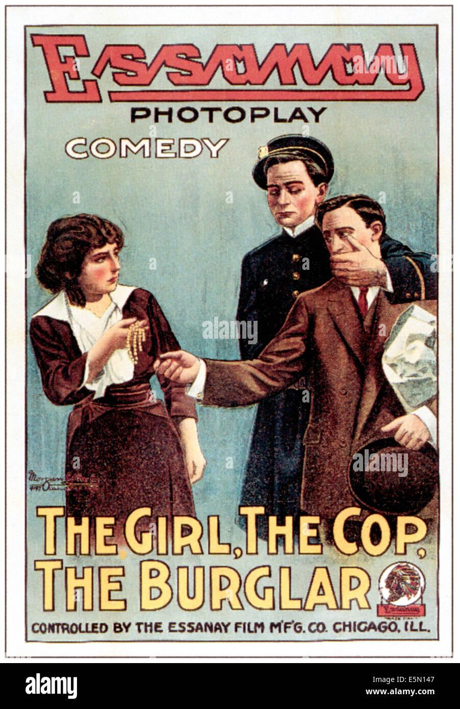 THE GIRL, THE COP, THE BURGLAR, 1914 - Stock Image