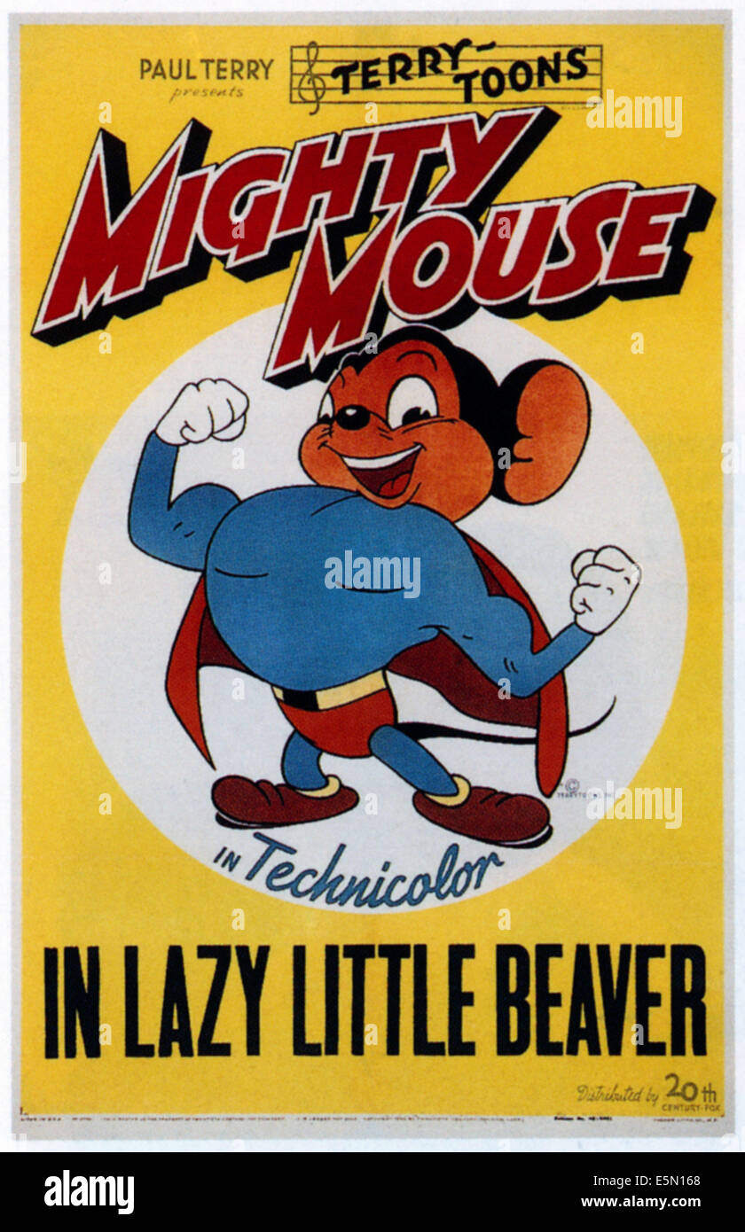 LAZY LITTLE BEAVER, Mighty Mouse, 1947 - Stock Image